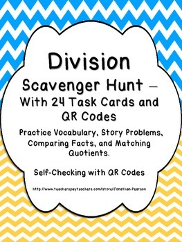Division Facts Scavenger Hunt - 24 Task Cards with QR Code