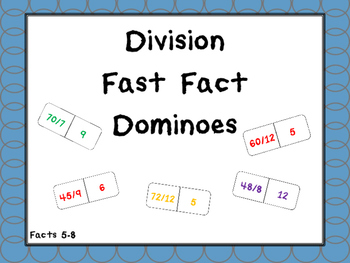 Division Fast Fact Dominoes Facts 5-8