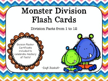 Division Flash Cards and Certificates - Monsters with Chev