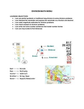Division Math Menu