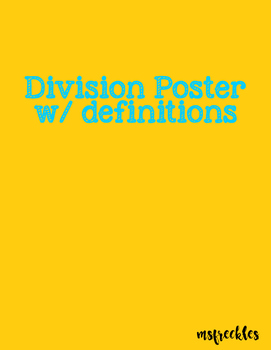 Division Poster with definitions