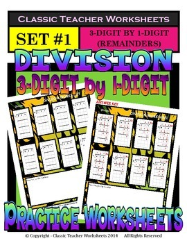 Division 3-Digit by 1-Digit (Set #1) - Remainders - Grades