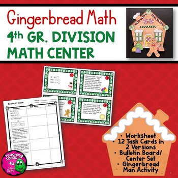 Division Task Card Math Center & Gingerbread House Art Act