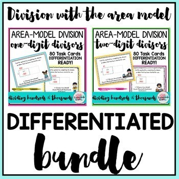 Division 1 Digit and 2 Digit Divisors Task Cards BUNDLE