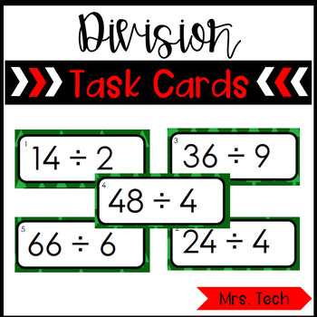 Division Task Cards {Basic Facts 0 - 12} Christmas Themed