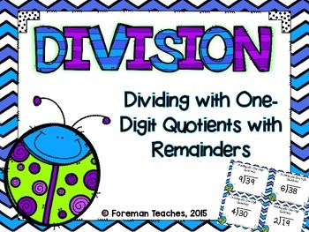 Division Task Cards - Dividing With One-Digit Quotients Wi