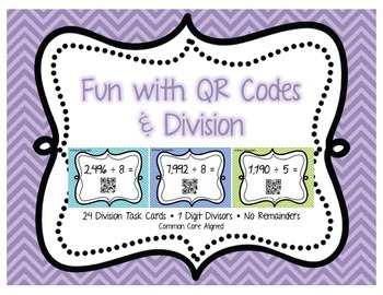 Division Task Cards (No Remainders) - With QR Codes