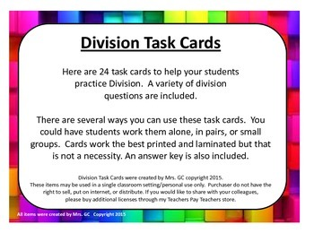 Division Task Cards (upper elementary)