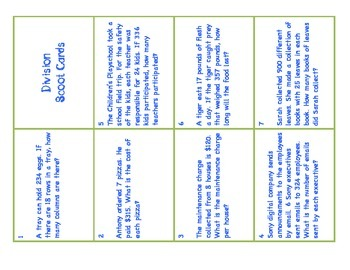 Division Task Cards with ANSWER KEY