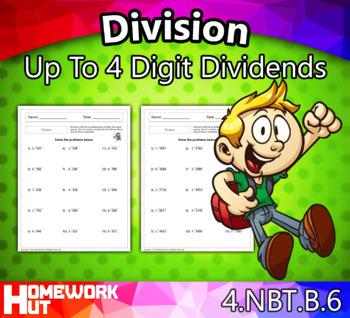 4.NBT.6 - Division Up To 4 Digit Dividends Worksheets
