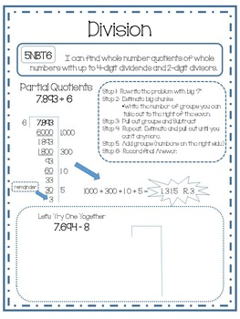 Division Using Partial Quotients and Area Model