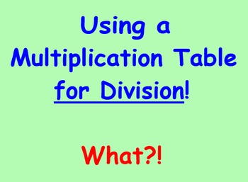 Division Using a Multiplication Table SmartBoard Lesson