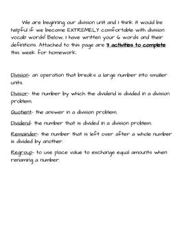 Division Vocabulary Practice