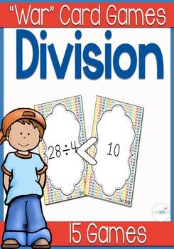 "Division facts ""War"" card game math center"