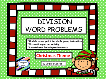Division Word Problems:  Basic Facts with Christmas Theme