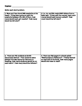 Division Word Problems (Interpreting the... by Crundy | Teachers ...