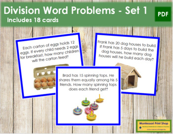 Division Word Problems - Level 1 (color coded)