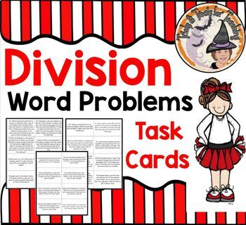 Division Word Problems Task Cards Stations Centers Partner