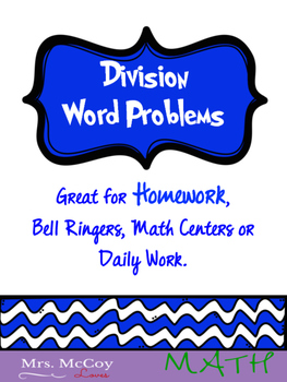 Division Word Problems Worksheet, Homework or Daily Work