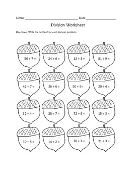 Division Worksheet : Fall Theme FREE