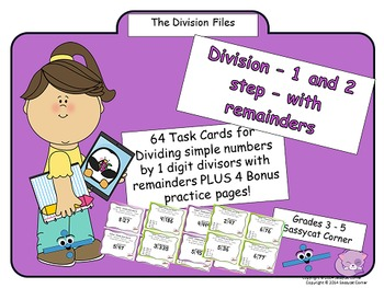 Division by 1 digit - 1 and 2 step division with remainder