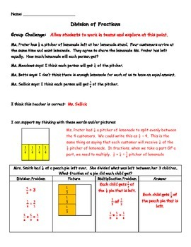 Division of Fractions Activity