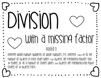 Division with Missing Factor Task Cards