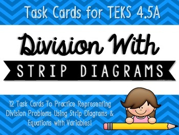 Division with Strip Diagrams & Equations Match-Up Cards {T