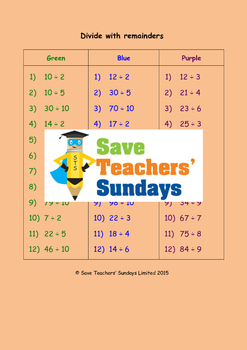Division with Remainders Worksheets (3 levels of difficulty)