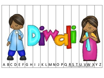 Diwali themed Alphabet Sequence Puzzle preschool learning