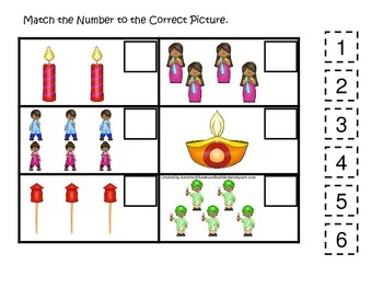 Diwali themed Match the Number preschool learning game.  D