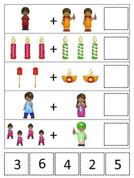 Diwali themed Math Addition preschool learning activity.