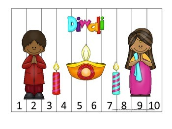 Diwali themed Number Puzzle 1-10 preschool learning activi