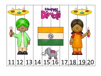 Diwali themed Number Puzzle 11-20 preschool learning activ