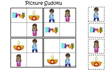 Diwali themed Picture Sudoku preschool learning activity.