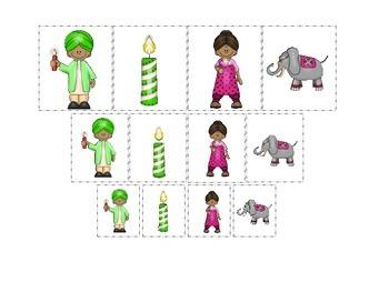 Diwali themed Size Sorting #3 preschool learning game.  Da