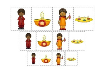 Diwali themed Size Sorting preschool learning game.  Dayca