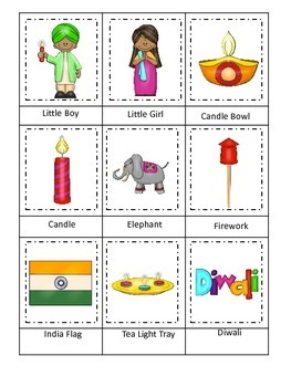 Diwali themed Three Part Matching preschool learning game.