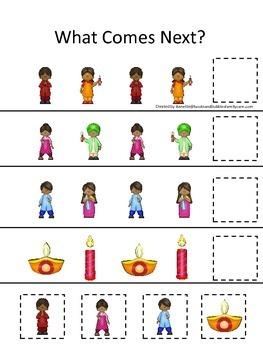 Diwali themed What Comes Next preschool learning game.  Da