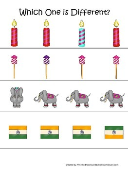 Diwali themed Which One is Different preschool learning ga
