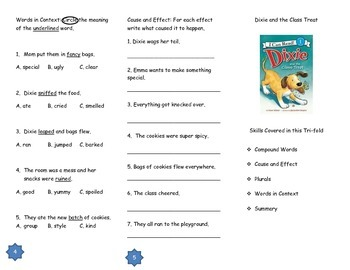 Dixie and the Class Treat Comprehension Tri-fold