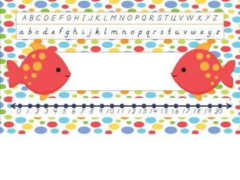 Dnealian Sea Animals Nametag Labels with Number Line