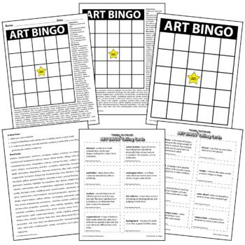 Do It Yourself Printable - Art Bingo Board Elements of Art