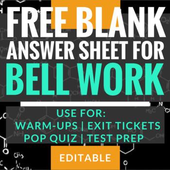 Bell Work/Warm-ups - FREE Blank Student Answer Sheet