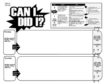 Do Now and Exit Slip Weekly Response Sheet