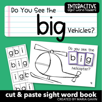 """Interactive Sight Word Reader """"Do You See the Big Vehicles?"""""""