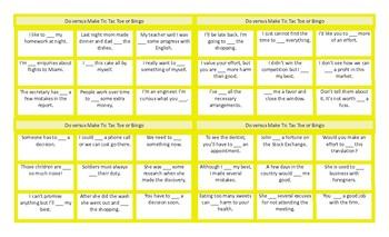 Do vs Make Tic-Tac-Toe or Bingo