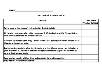 Doctor DeSoto comprehension and center activities