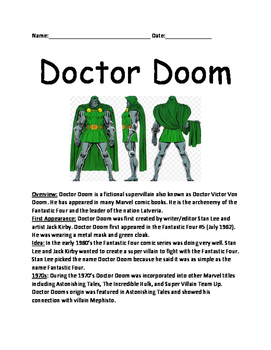Doctor Doom - comic book character informational lesson fa