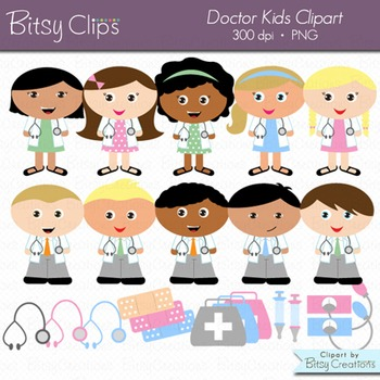 Doctor Kids Digital Art Set Clipart Commercial Use WITH Bl